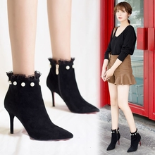 Martin's boots, women's English style, Korean version, all kinds of small heels, high heels, pearls, lace, short boots, women's spring and autumn single boots trend