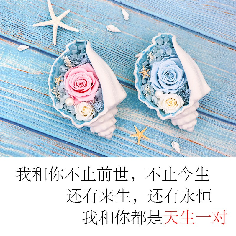 2020 immortality flower birthday gift Chinese Valentines Day conch presents a rose to his girlfriends mother.