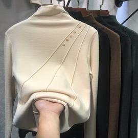 米色刺绣字母打底衫女秋冬欧货新款抖音半高领长袖拉绒小衫磨毛t