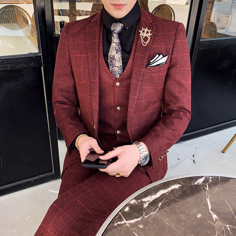 Suit suit mens business dress three piece slim groom wedding dress British Plaid suit mens suit