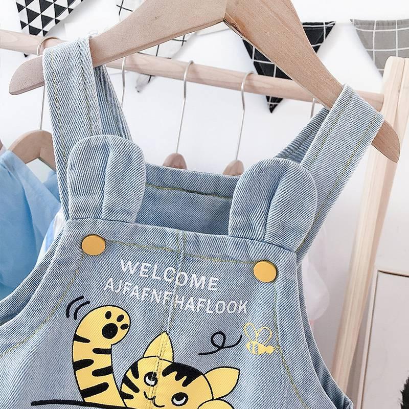 。男宝宝夏装背带裤0-3岁薄款可开裆婴儿牛仔短裤小童洋气大PP裤