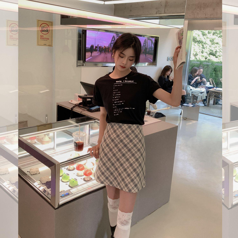 2021春夏季韩版新品卡其色格纹简约高腰短款A字裙格子半身裙短裙