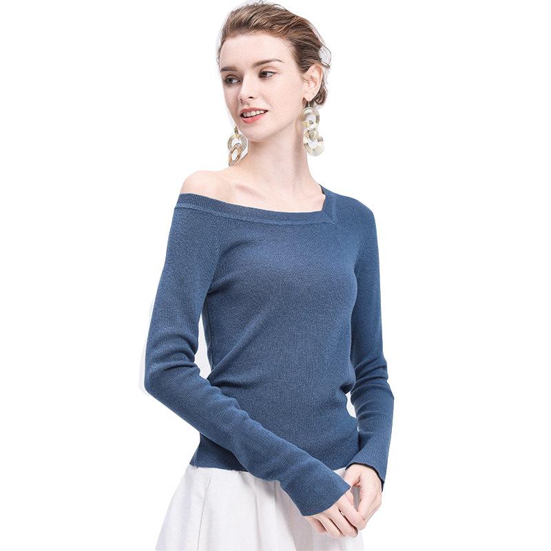 百搭经典针织衫女2019年欧美女装新款一字领亚马逊热销产品针织衫