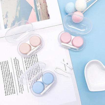 拍①发④隐形眼镜盒便携小巧简约磨砂可爱美瞳盒学生少女伴侣双联