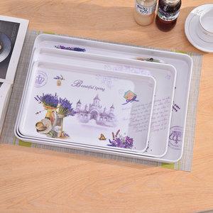 家用长方形托盘仿瓷加厚塑料多功能水果盘端盘茶杯茶具大号零食盘