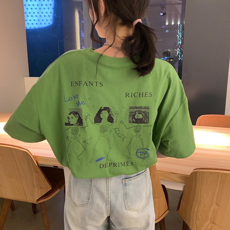 假一赔十纯棉牛油果抹茶绿色短袖古着感t恤