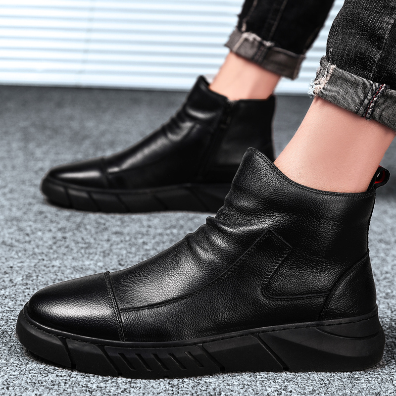 Mens high helper tube with plush belt, wool, young lazy people with high waist and no shoelaces.. Cotton shoes and warm leather shoes in winter