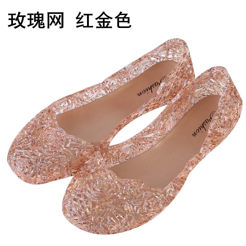 中国巢平底包头果冻沙滩鞋中老年水晶塑料凉鞋女士夏天网面镂空透