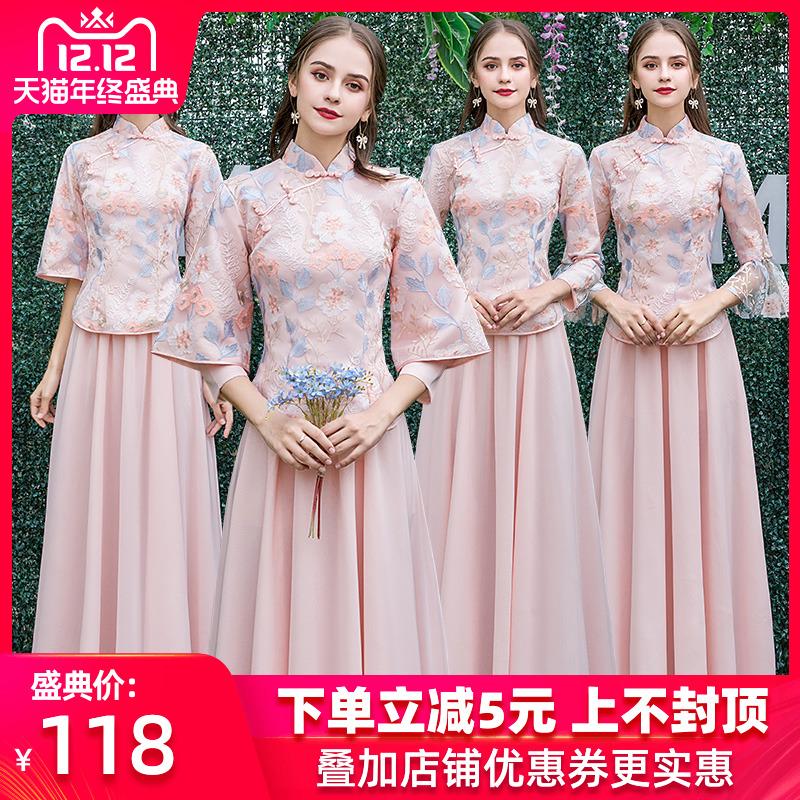 伴娘服2019新款冬季中式伴娘团礼服女仙气质姐妹裙中国风显瘦长袖