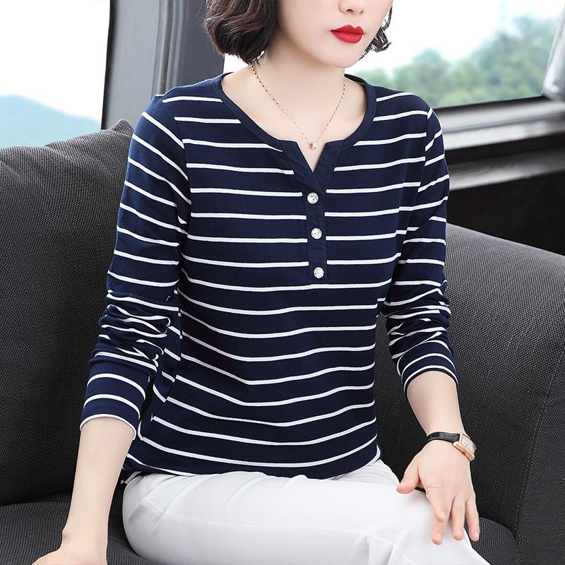 纯棉长袖t恤女洋气上衣中年妈妈春装2021新款韩版百搭条纹打底衫