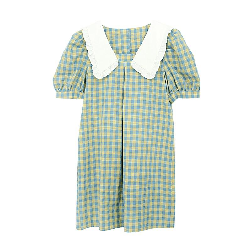法式小众可甜可盐连衣裙女2020新款夏娃娃领减龄甜美宽松格纹短裙