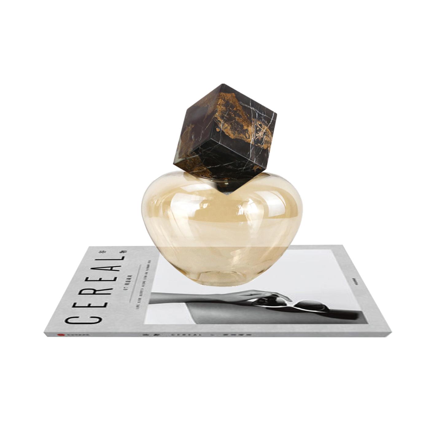 现代简约欧式琥珀色瓶大理石创意摆件样板房售楼处软装饰品摆设