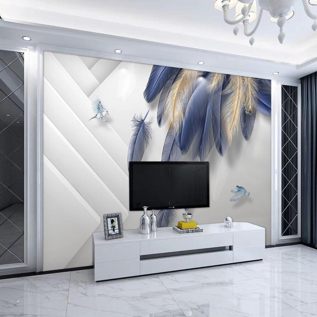 北欧現代ファッション手描き羽根3 d立体幾何学リビングテレビ背景壁紙エコカスタマイズ壁画布