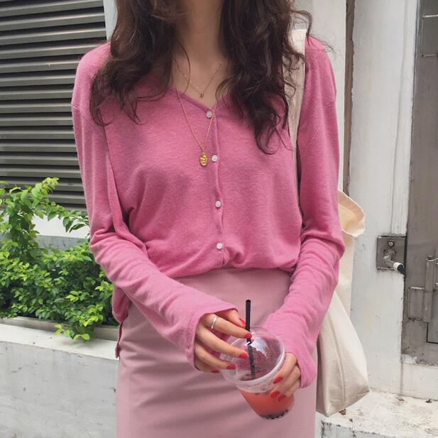现韩国东大门代购女装夏装亚麻休闲针织衫防晒开衫外搭薄款空调衫