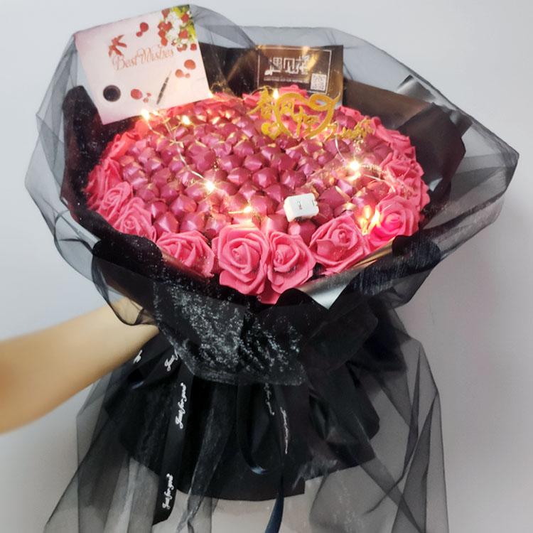 抖音草莓花束材料diy 制作棒棒糖花束手工包装零食花创意生日礼物
