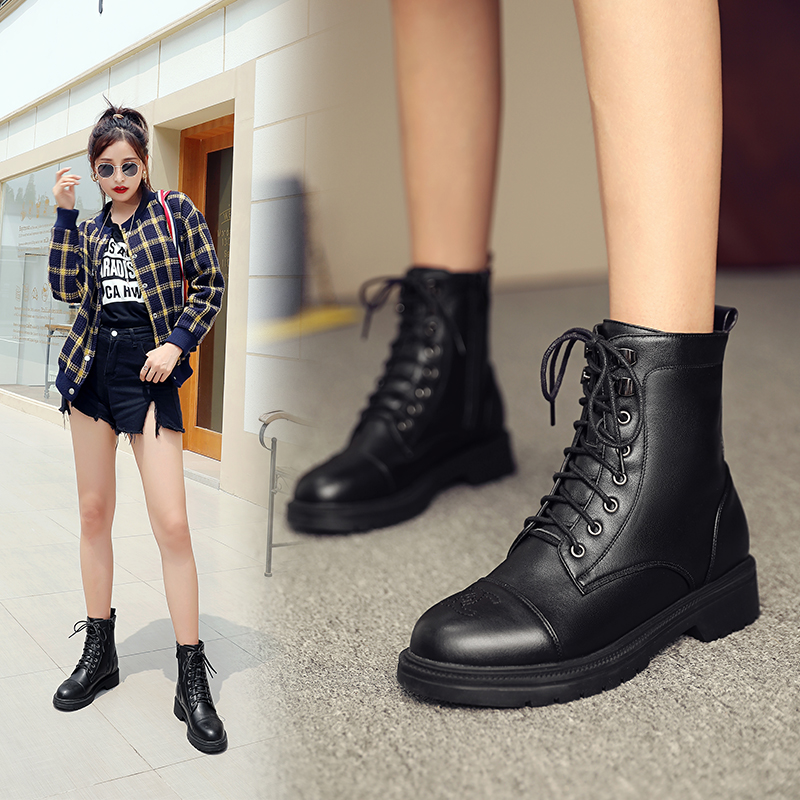 Leather Martin boots womens winter new plush warm wool boots flat heel thick sole British short boots womens cotton shoes
