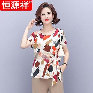 年轻中年妈妈夏装套装新款40-50岁中老年女短袖洋气两件套黄色上.