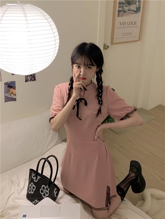 Design sense split cheongsam pure style dress womens summer lace temperament stitching waist closing thin lace skirt