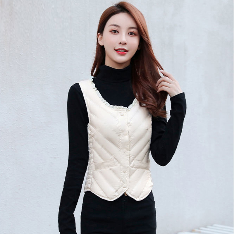 New autumn and winter down vest for women, slim and short, Korean version with waistcoat and mothers inner liner