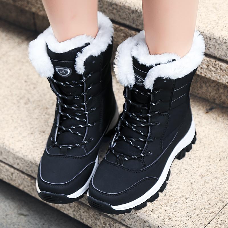 高帮棉鞋女2019新款加绒加厚冬季户外防水防滑中筒大码东北雪地靴