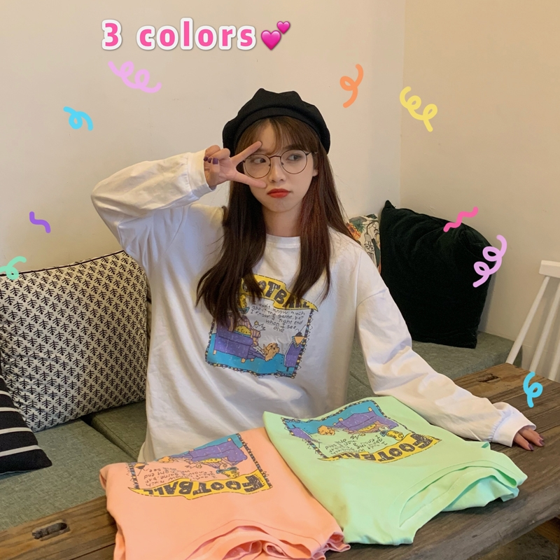 Cartoon printed white cotton loose long sleeve t-shirt female ins fashion student Korean versatile top looks slim in spring and Autumn