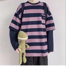大码女装200斤宽松假两件长袖T恤秋季韩版胖妹妹条纹情侣款上衣bf图片