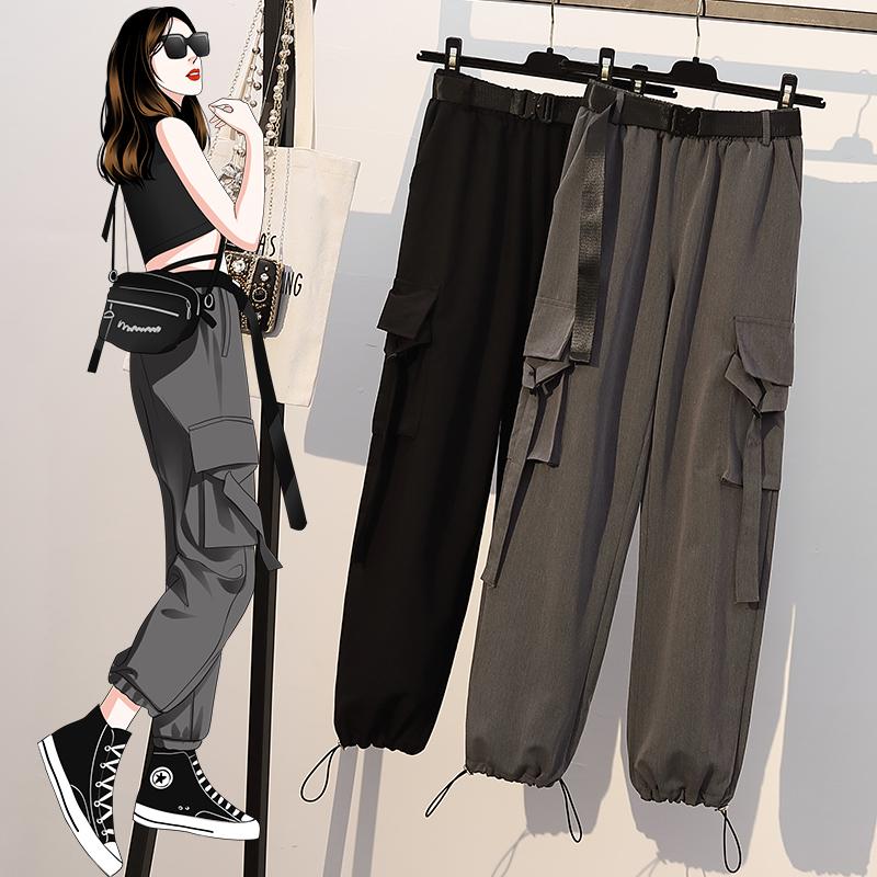 大码女装2020夏季新款微胖妹妹修身显瘦口袋工装裤休闲运动风裤子