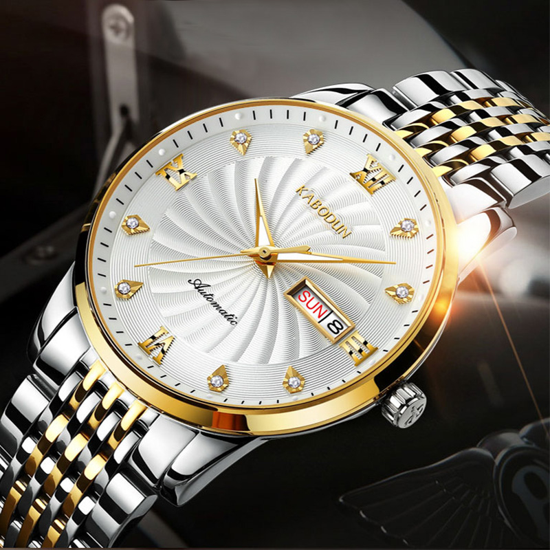 Mechanical watch mens automatic gear waterproof ultra thin wristwatch middle aged mens dad atmospheric business watch mens earth tide