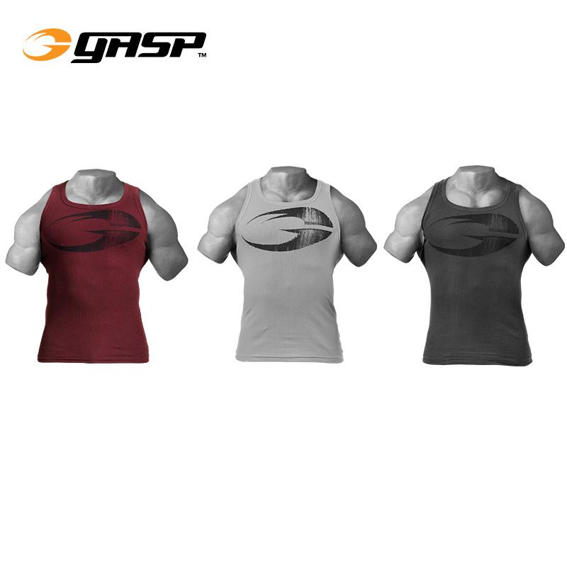 Gasp GSP original ribbed mens sports fitness waistcoat tight rib in stock