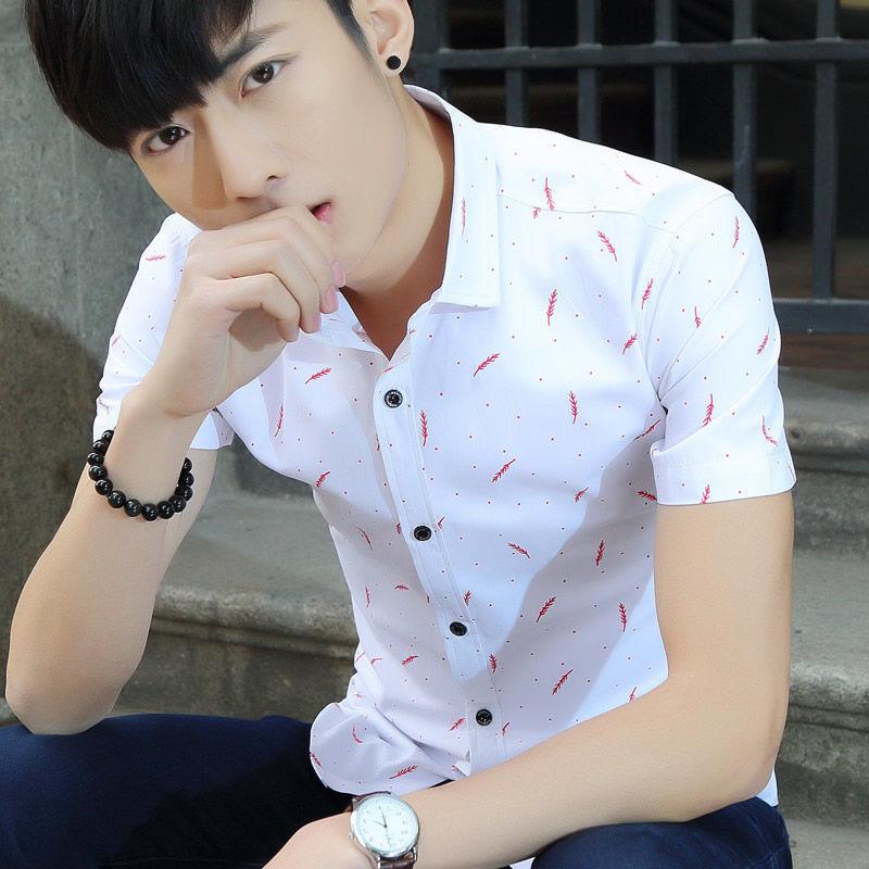 ZZ720019夏季装男方领短袖衬衫男透气韩版潮流男衬衫休闲印花羽毛