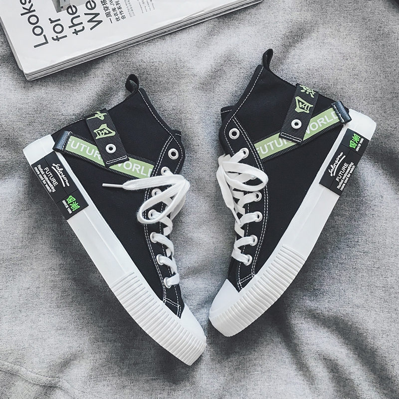 Korean graffiti printing fashion casual shoes two higher top canvas shoes mens new autumn fashion versatile and breathable