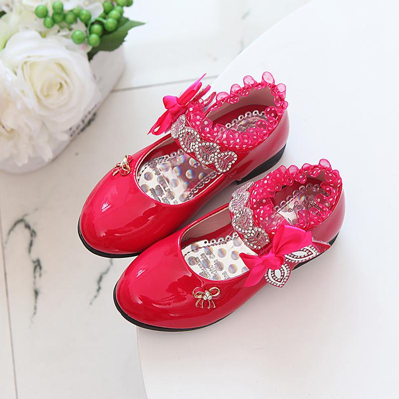 2020春秋新款女童公主鞋小女孩皮鞋学生高跟舞蹈单鞋花边水钻童鞋