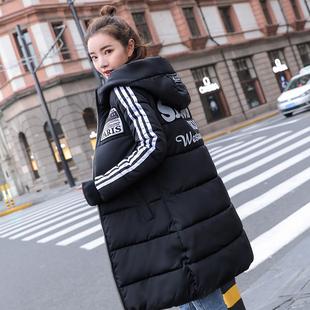 新款冬装羽绒棉衣女中长款修身百搭韩版连帽大码外套潮2019棉服女