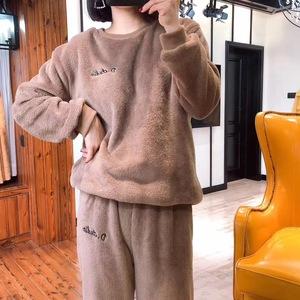 珊瑚绒加绒加厚仙女暖暖裤套装睡衣