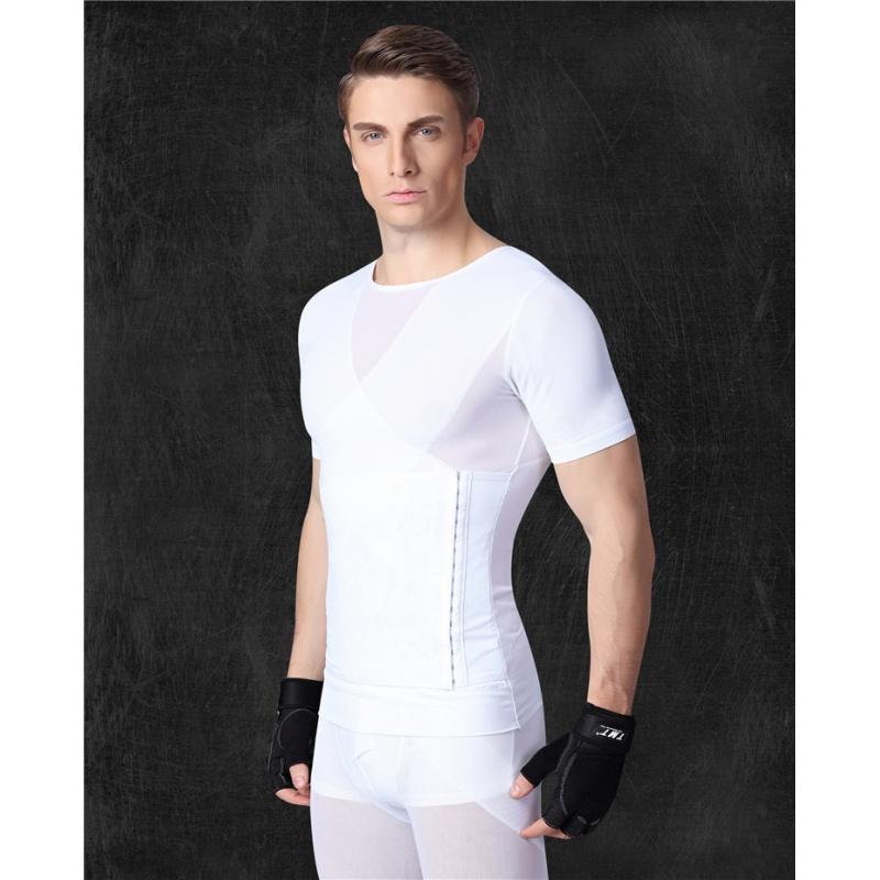 短袖束胸衣男士收腹塑身背束腰带夏季薄紧身内衣减及腹肚子排扣