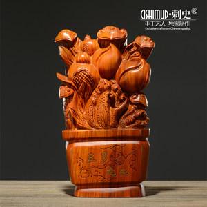 花梨木雕三多九如高档结婚生日礼物红木创意家居饰品招财如意摆件