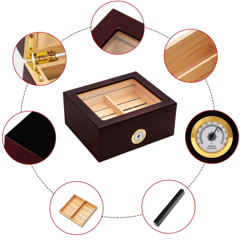 雪茄保湿保湿原装古巴盒子雪松实木保湿盒恒湿雪茄柜20支装保湿箱 Изображение 1