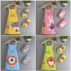 美术画画儿童围裙画画衣家用厨房女童幼儿园绘画防水小孩吃饭罩衣