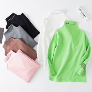 果贝猴秋冬纯棉打底衫高领A类长袖保暖纯色儿童T恤男童女童小孩子