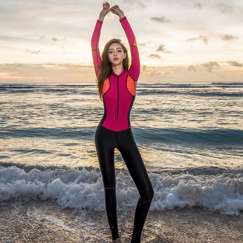 South Korea diving suit one piece fashion long sleeve trousers foot step sunscreen swimsuit womens snorkeling surfing full body quick drying suit