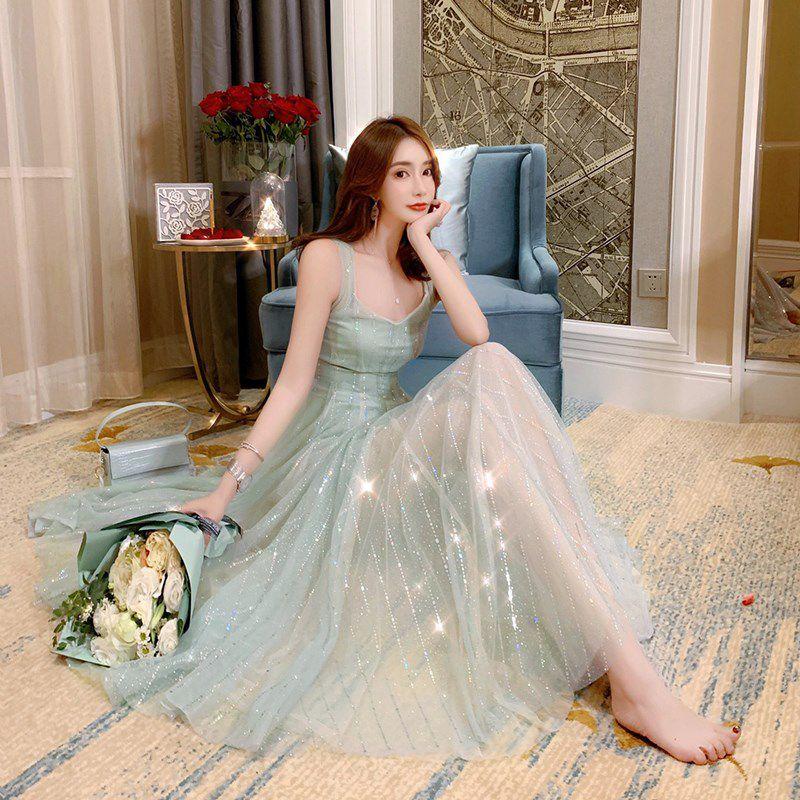 枪枪家雪纺连衣裙2019新款夏法式复古无袖吊带裙中长款仙女网纱裙
