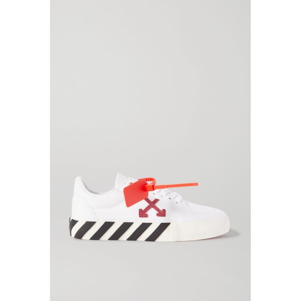 Off-White 2020新品女白色條紋帆布休閑運動鞋NAP/NET-A-PORTER