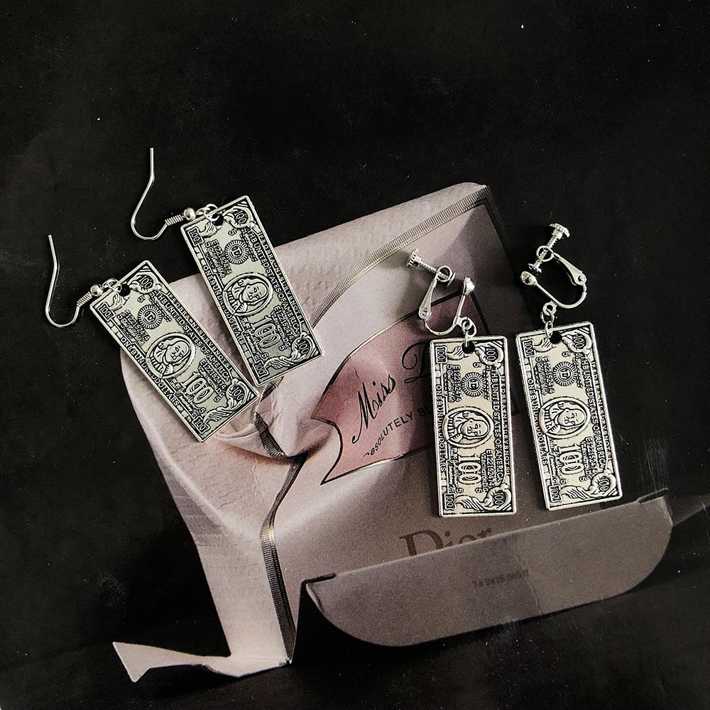 Linz studio homemade personalized banknote punk Earrings Street exaggeration no ear hole ear clip 925 Tremella nail