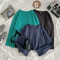 超大码300斤长袖T恤女春秋新款胖MM240斤宽松显瘦纯色打底衫上衣
