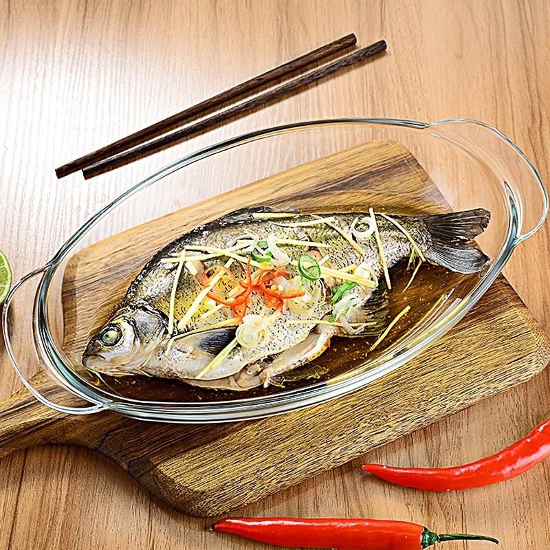 。新款加厚耐热玻璃深鱼盆双耳盘家用餐具透明菜盘蒸鱼盘微波炉