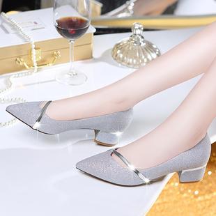 低跟單鞋女鞋2020新款夏季中跟粗跟小碼百搭配裙子穿女士皮鞋瓢鞋