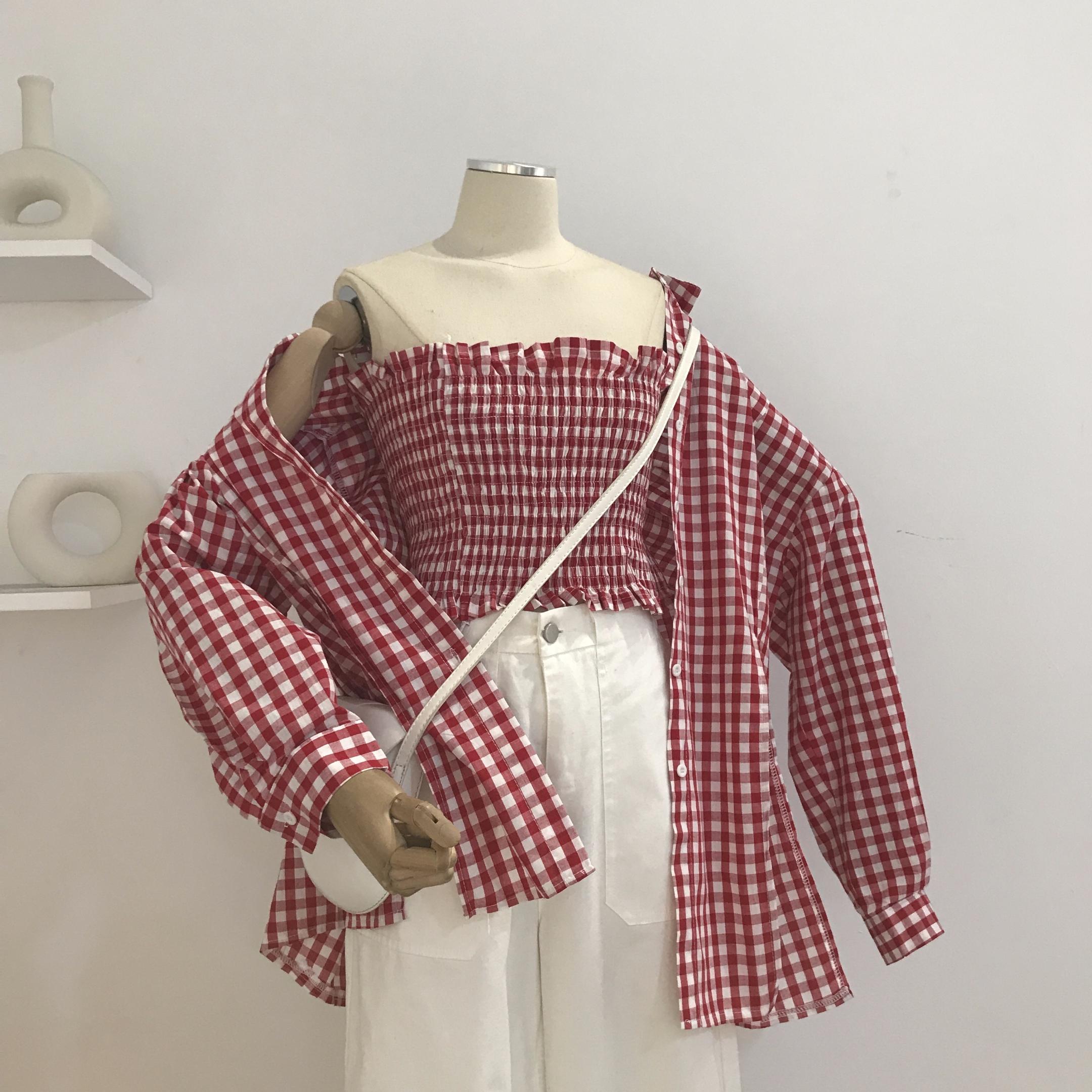 【吴夫人】C52包邮早秋女装韩版休闲衬衣学院风格子长袖+裹胸