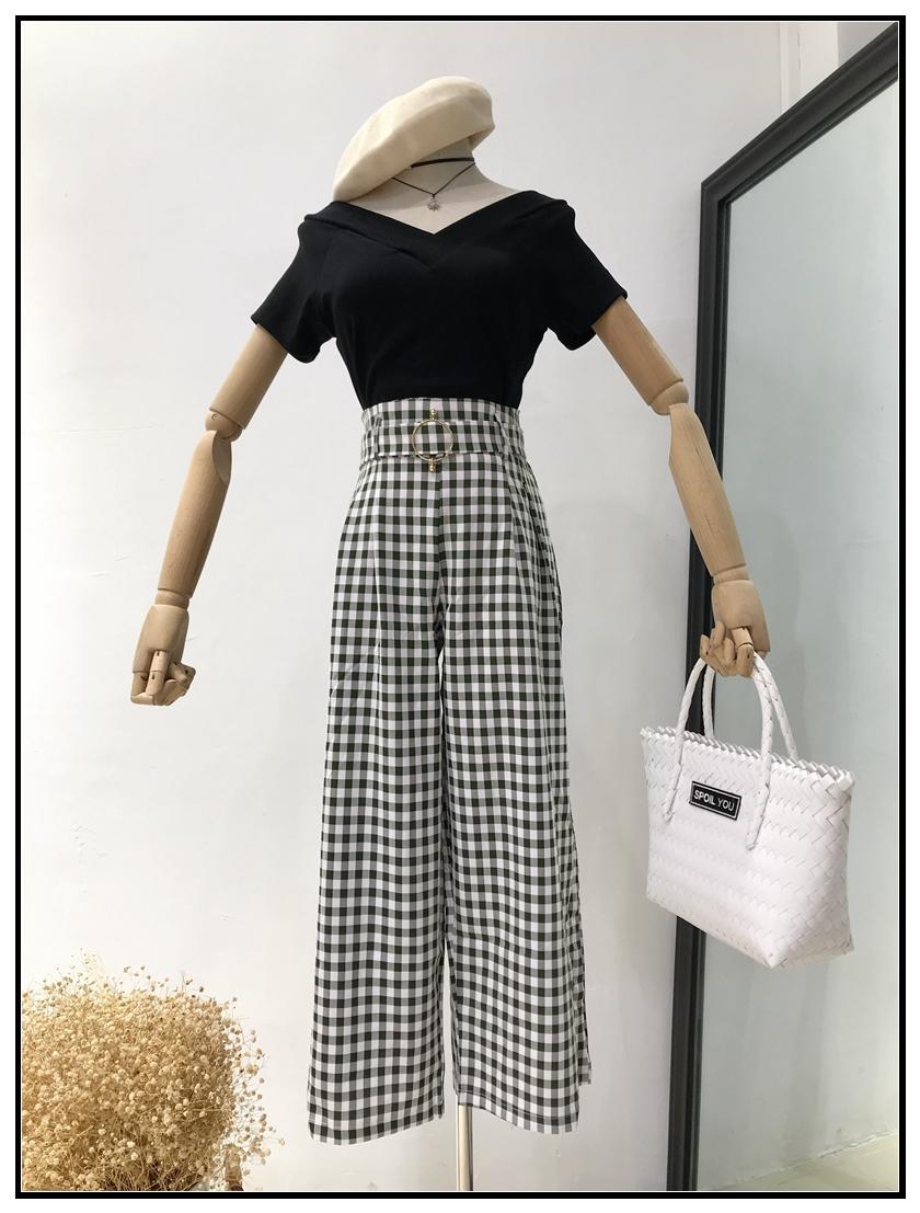 【吳夫人】B54 新款格子闊腿褲套裝女高腰修身時尚短袖T恤兩件套