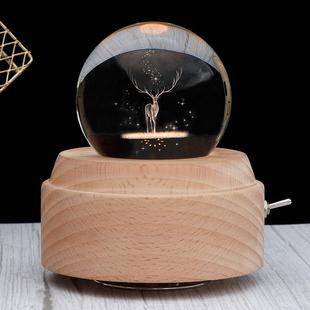 会旋转木马音乐盒水晶球八音盒木质天空之城送男女生定制生日礼物