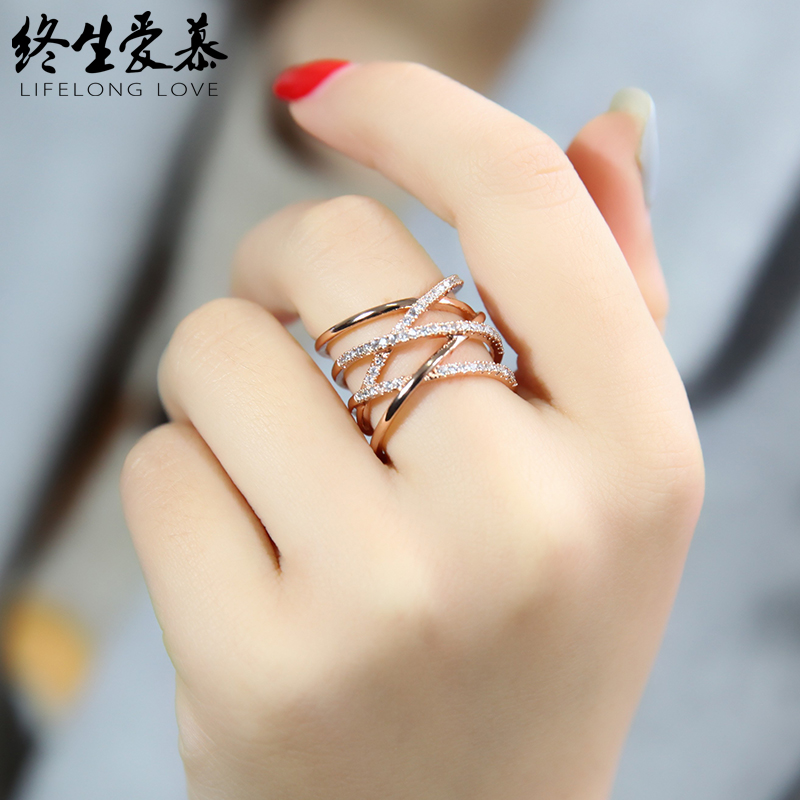 Colorful gold ring female fashion trend personality Korean student net red simple and exaggerated middle finger ring opening